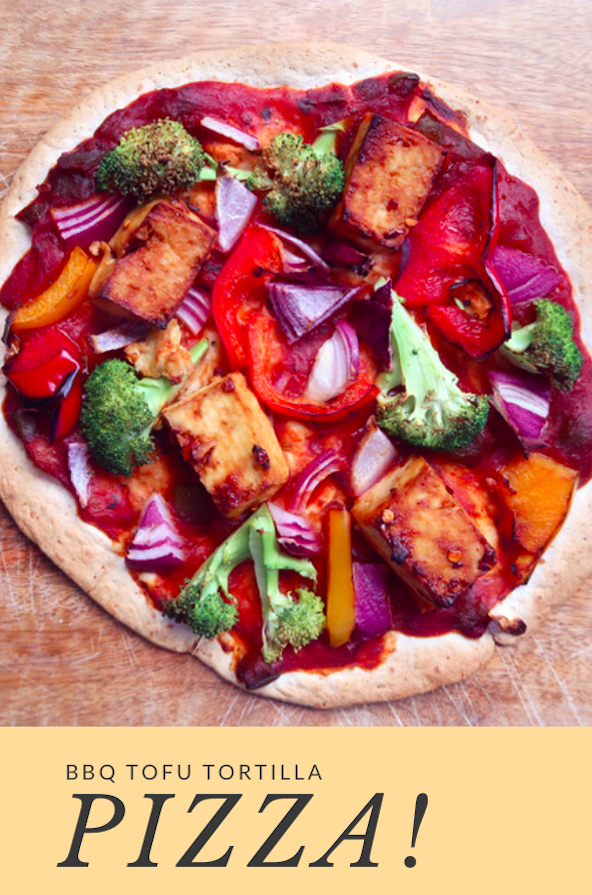 BBQ TOFU TORTILLA PIZZA!
